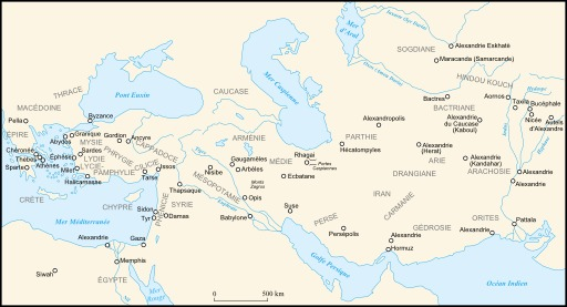 Carte de l'empire macédonien sous Alexandre III
