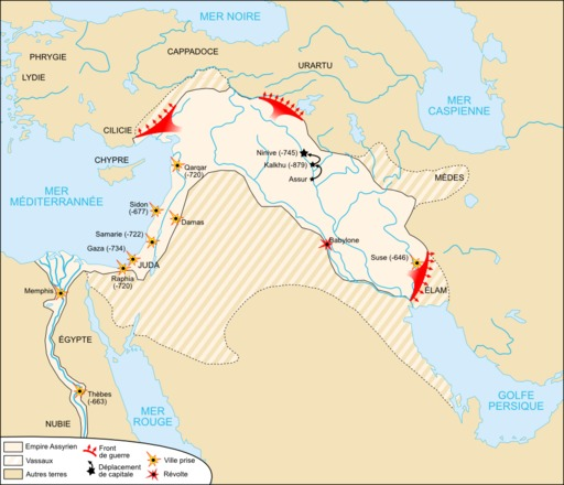 Carte de l'Empire néo-assyrien
