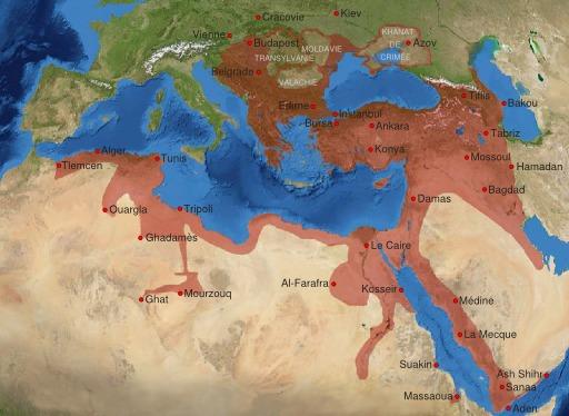 Carte de l'empire ottoman à son apogée