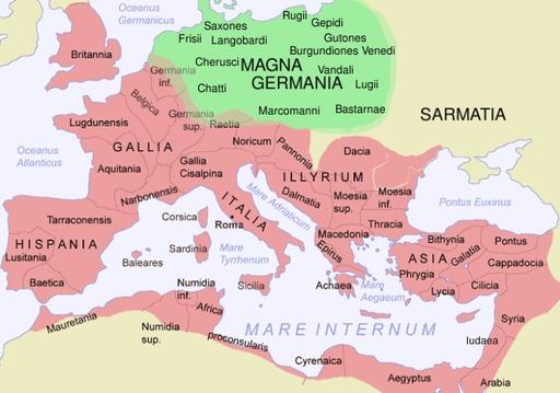 Carte de l'empire romain et de la Germanie
