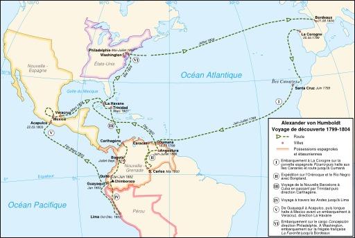 Carte de l'expédition de Humboldt