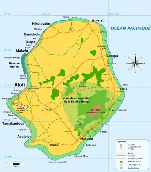 Carte de l'île de Niué