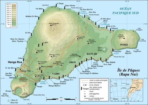 Carte de l'île de Pâques