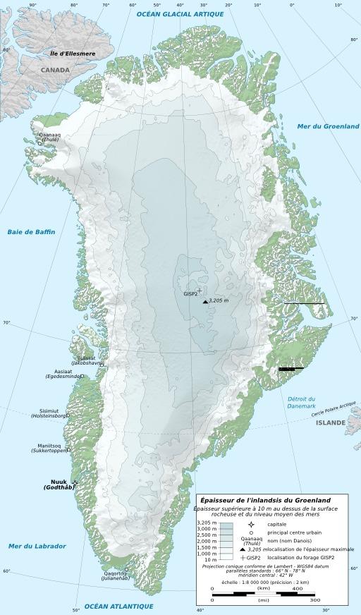 Carte de l'inslandis du Groenland