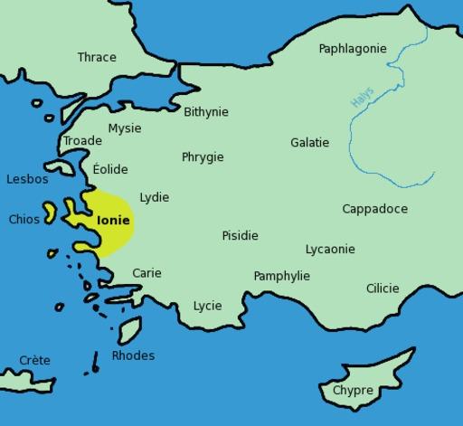 Carte de l'Ionie