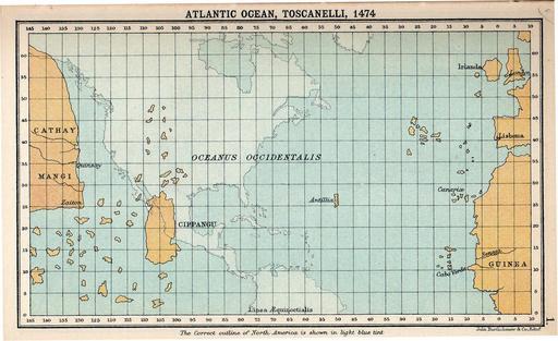 Carte de l'océan atlantique de Toscanelli en 1474