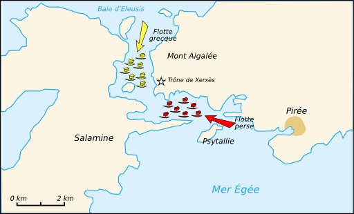 Carte de la bataille de Salamine