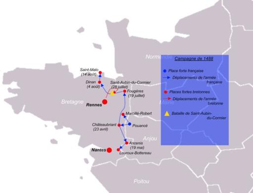 Carte de la Campagne de Bretagne en 1488