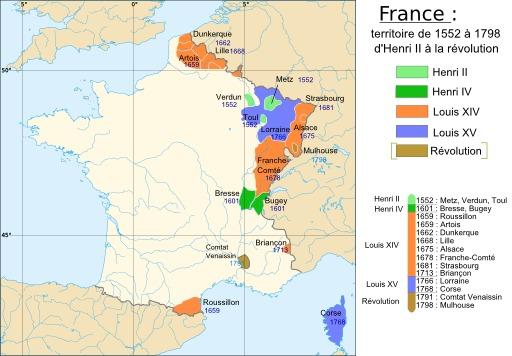 Carte de la France de 1552 à 1798