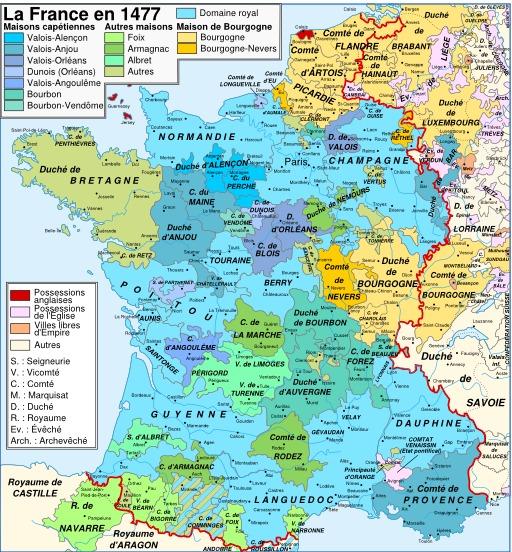 Carte de la France en 1477