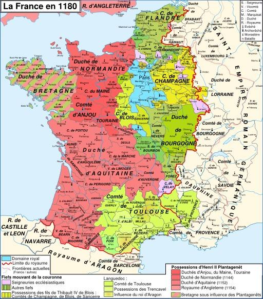 Carte de la France et du Domaine royal en 1180