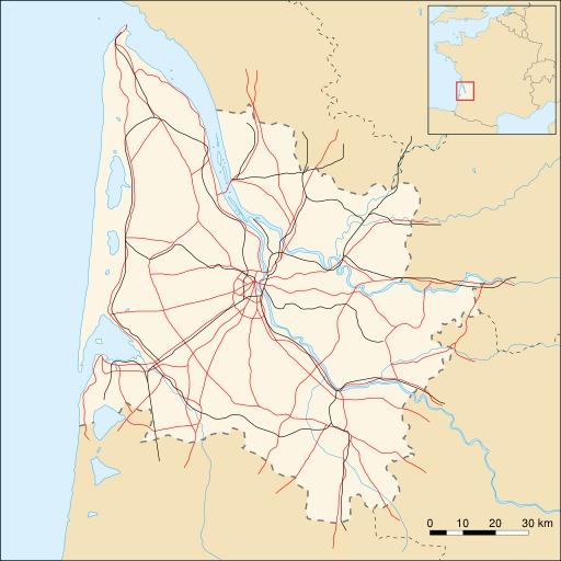 Carte de la Gironde avec routes et voies ferrées