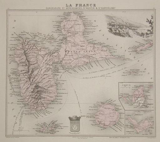 Carte de la Guadeloupe en 1865