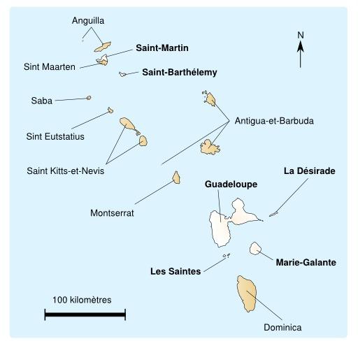 Carte de la Guadeloupe et des îles proches