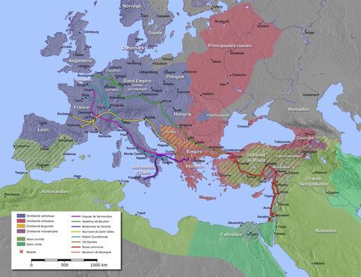Le pape Urbain II, lors du concile tenu à Clermont-Ferrand en novembre 1095, lance un appel à la croisade en Terre sainte pour combattre les infidèles. La première croisade se déroule de 1095 à 1099. Jérusalem est prise par les croisés en 1099 dans des conditions atroces.