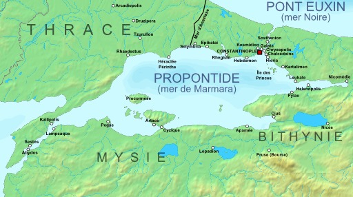 Carte de la région de Constantinople