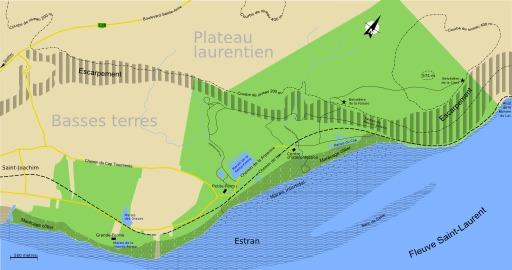 Carte de la réserve du Cap Tourmente au Québec