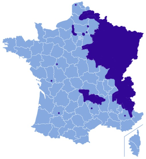 Carte de répartition de la grive litorne en France