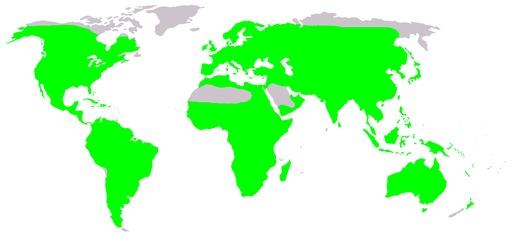 Carte de répartition mondiale des grenouilles
