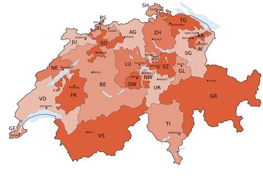Carte de Suisse avec limites des cantons