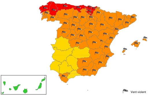 Carte de vigilance en Espagne le 24-01-2009