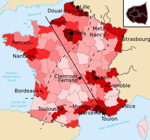 Carte démographique de la France