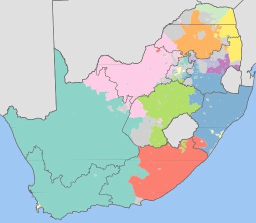 Carte des 11 langues d'Afrique du Sud