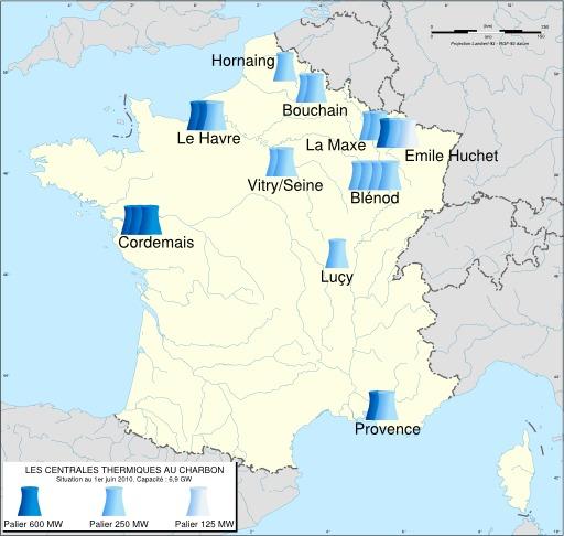 Carte des centrales thermiques au charbon