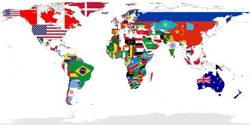 Carte des drapeaux du monde