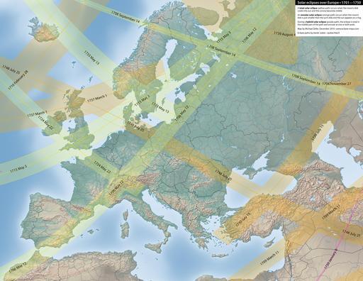 Carte des éclipses solaires en Europe entre 1701 et 1750