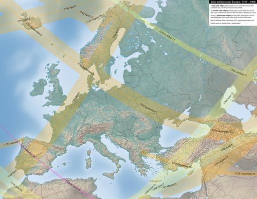 Carte des éclipses solaires en Europe entre 1751 et 1800
