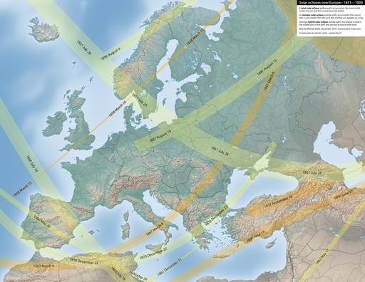 Carte des éclipses solaires en Europe entre 1851 et 1900
