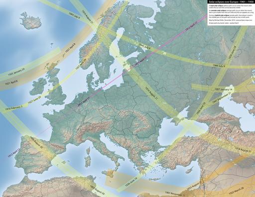 Carte des éclipses solaires en Europe entre 1901 et 1950
