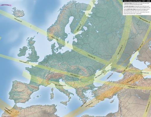 Carte des éclipses solaires en Europe entre 1951 et 2000