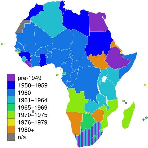 Carte des états africains indépendants