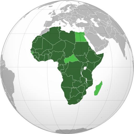 Carte des états membres de l'Union Africaine