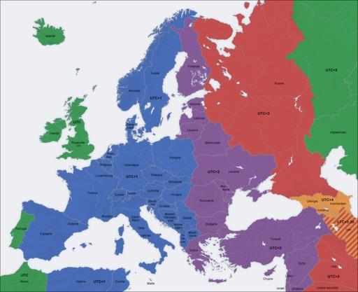 carte europe fuseau horaire