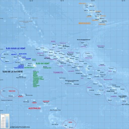Carte des îles polynésiennes