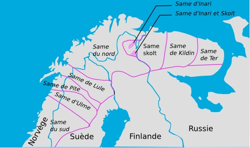 Carte des langues sames
