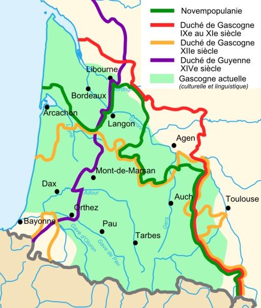 Carte des limites linguistiques de la Gascogne