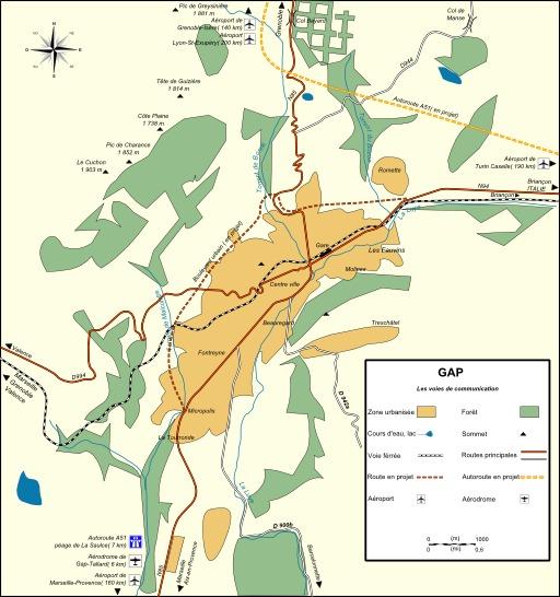 Carte des moyens de transport à Gap
