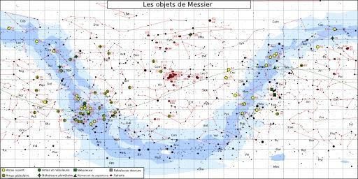 Carte des objets du catalogue Messier en 1771
