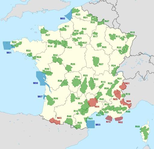 Carte des parcs naturels français de métropole