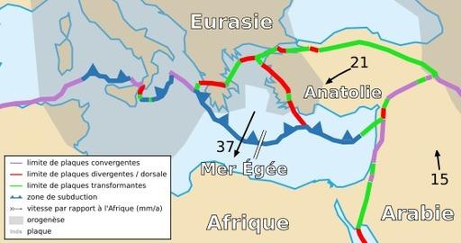 Carte des plaques de la Mer Egée et anatolienne