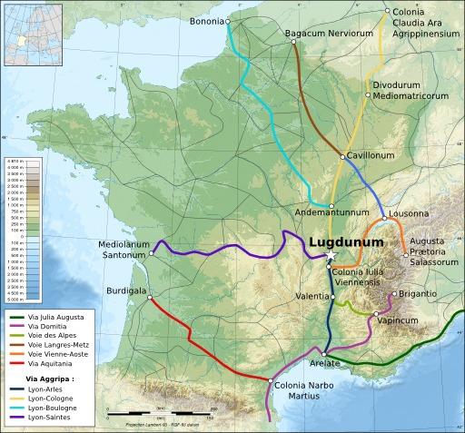 Carte des principales voies romaines en Gaule