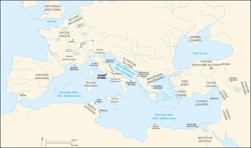 Carte des provinces romaines à l'époque de César