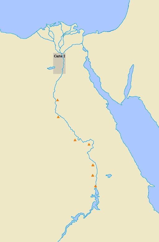 Localisation de sept pyramides d'Égypte