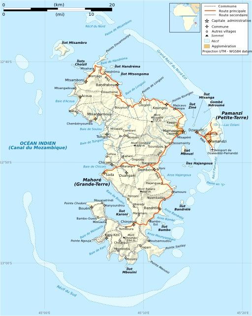 Carte des routes de Mayotte