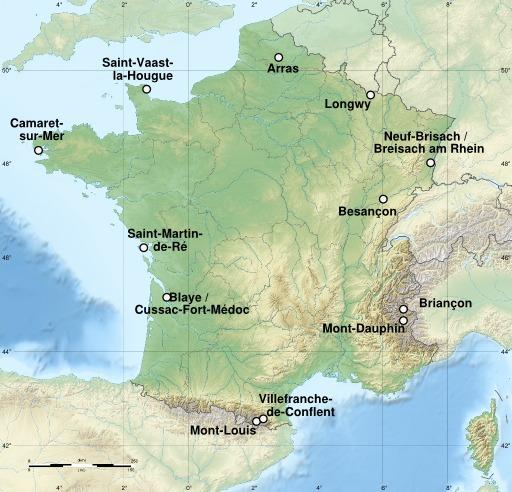 Carte des sites majeurs de Vauban