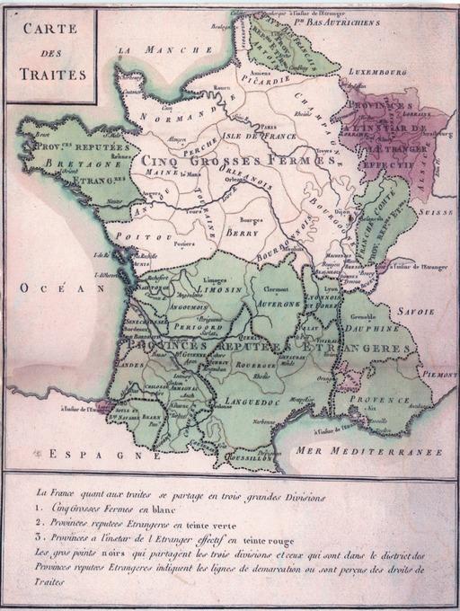 Carte des Traites en 1732 : les provinces étrangères